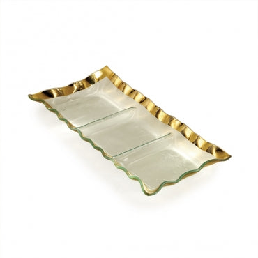 Annieglass Ruffle Three Section Tray, Gold