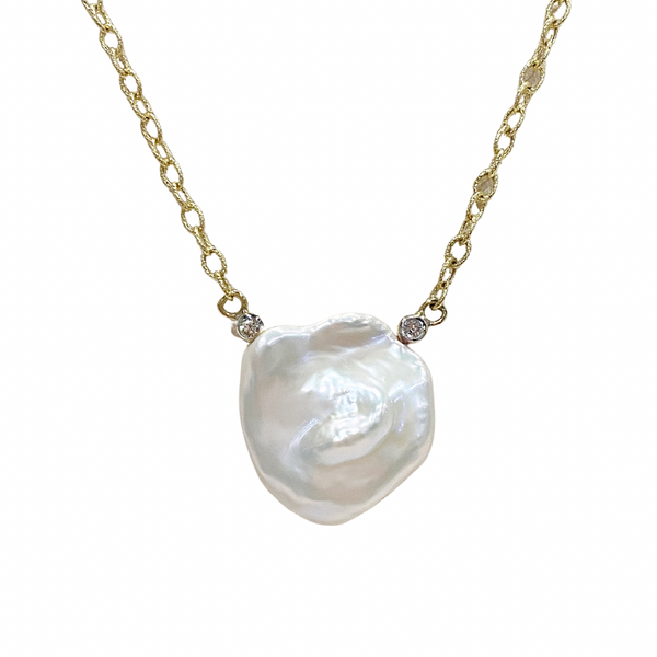 Raymond Mazza Keshi Pearl with Diamond Accents Necklace