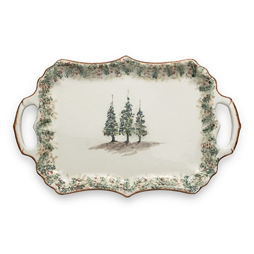 Arte Italica Natale, Rectangular Tray with Handles