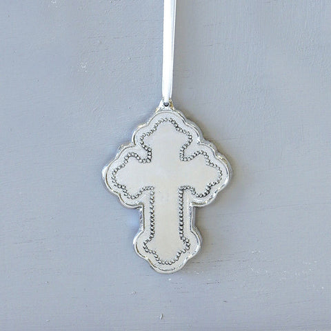 Beatriz Ball Pearl Cross Ornament