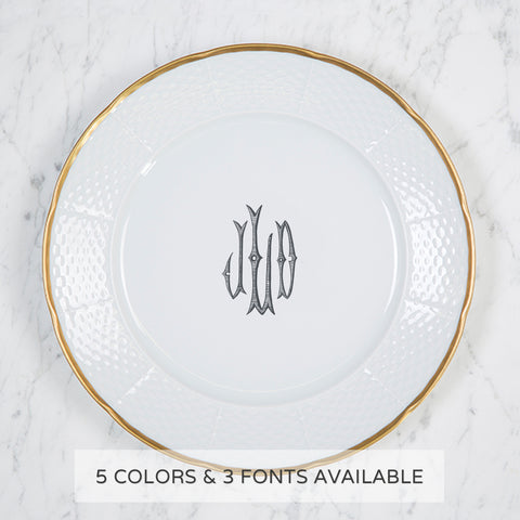 Sasha Nicholas Weave 24K Gold Dinner Plate With Monogram