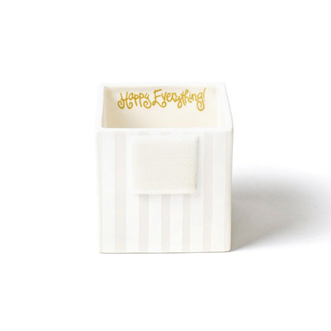 Happy Everything White Stripe Small Mini Nesting Cube