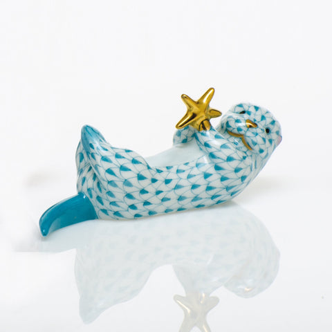 Herend Sea Otter with Starfish, Turquoise