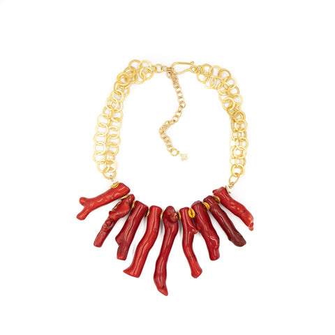 Hazen & Co. Tulum Necklace, Red Coral