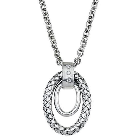 Alisa Sterling Silver necklace with shiny & Traversa oval ornament
