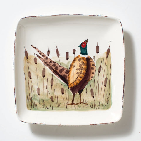 Vietri Wildlife, Pheasant Small Square Platter