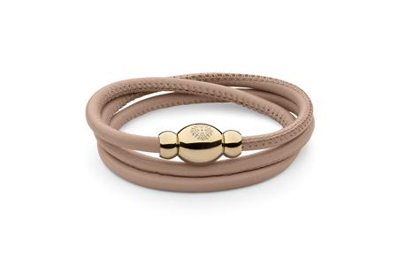 Qudo Tender Nude Triple Wrap Leather Bracelet with Rose Gold - Ro & Jewel
