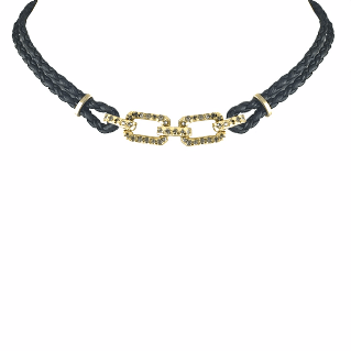 Tat2Designs Gold Heiho 2 Link Leather Choker - ro-and-jewel