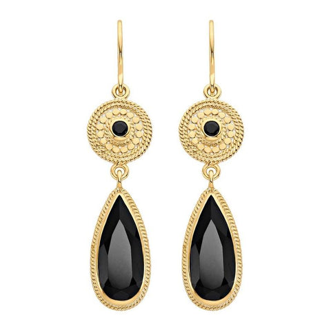 Anna Beck Black Onyx Double Drop Gold Earrings - Ro & Jewel