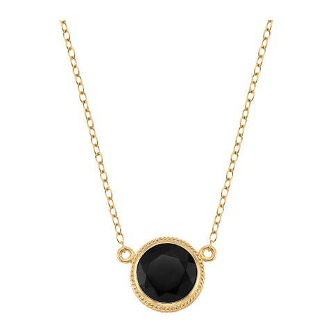 Anna Beck Black Onyx Circle Pendant Necklace Gold - ro-and-jewel