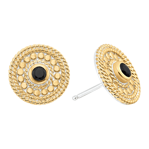 Anna Beck Black Onyx Pave Circle Stud Earrings - Gold - Ro & Jewel