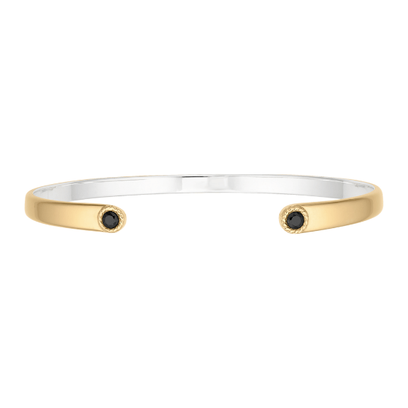 Anna Beck Black Onyx Smooth Open Gold Cuff - ro-and-jewel