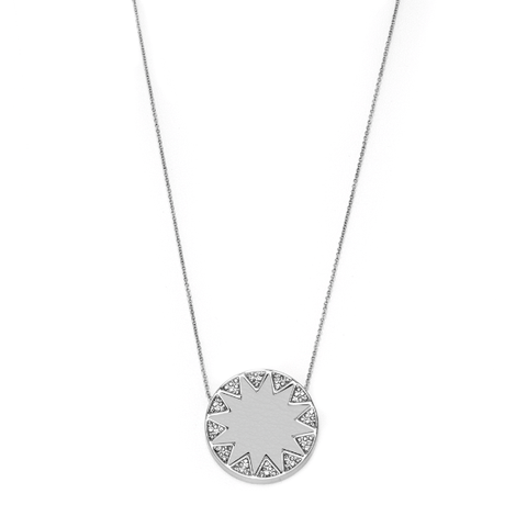 House of Harlow 1960 Pave Sunburst Necklace Silver Light Gray - ro-and-jewel