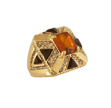 House of Harlow 1960 Art Deco Ring Gold Topaz - ro-and-jewel
