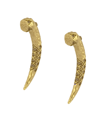 House of Harlow 1960 Gold Gorgon Tusk Earrings - ro-and-jewel