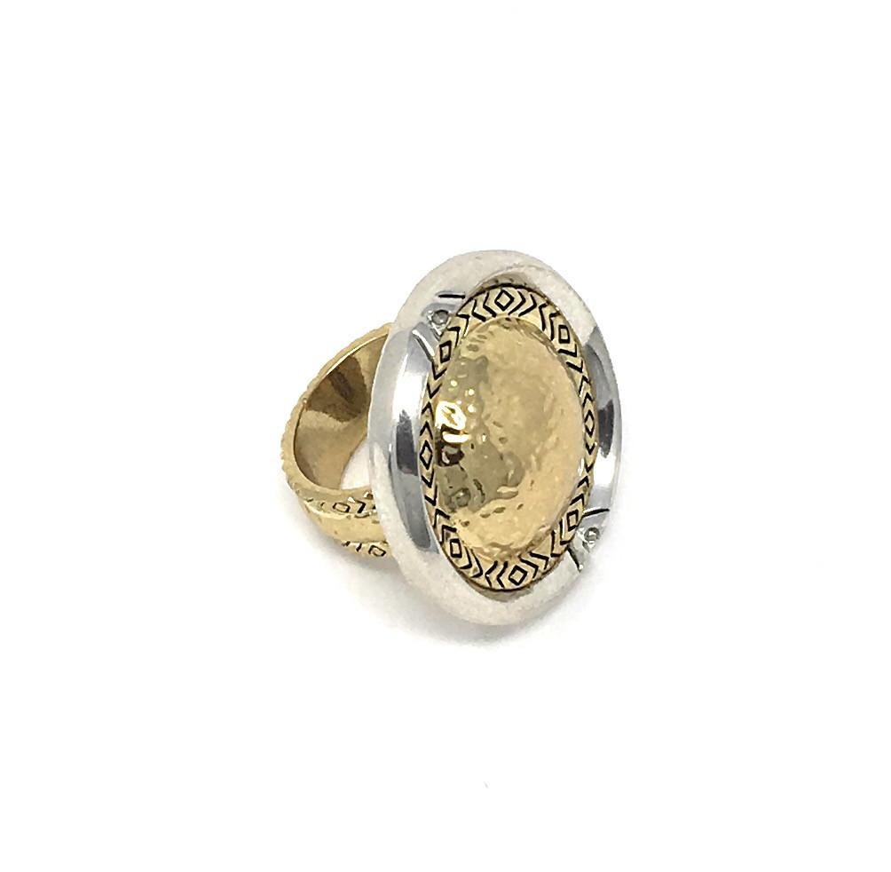ouse of Harlow Golden Scutum Statement Ring ro-and-jewel