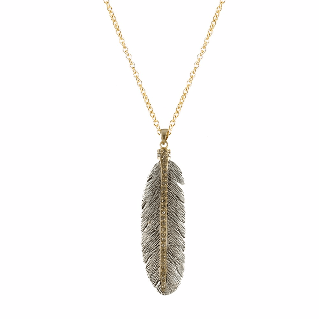 Tat2Designs Vintage Silver Casbah Feather Necklace - ro-and-jewel