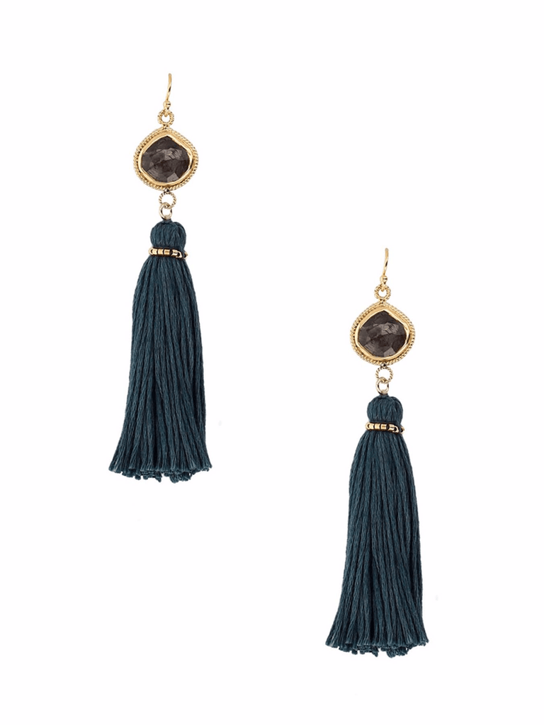 Chan Luu Hypersthene Teal Tassel Earrings - ro-and-jewel