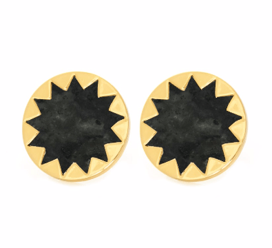 House of Harlow 1960 Sunburst Button Earrings Dark Gray - ro-and-jewel