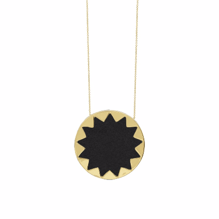House of Harlow 1960 Sunburst Pyramid Pendant Gold Necklace Black - ro-and-jewel