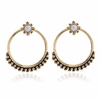 Luv AJ Versailles Two-Piece Hoop Gold Earrings - ro-and-jewel