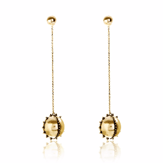 Luv AJ Baroque Chain Drop Gold Earrings - ro-and-jewel