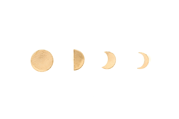 Moorea Seal Ara Moon Phase Gold Stud Set Earrings - ro-and-jewel