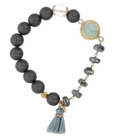 Chan Luu Matte Hematine Mix Statement Stretch Bracelet - ro-and-jewel
