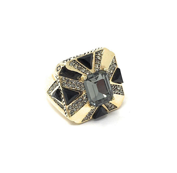 House of Harlow 1960 Art Deco Ring Gold Gray - ro-and-jewel
