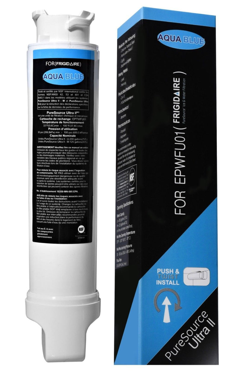 Aqua Blue water filter compatible with Frigidaire EPTWFU01 PureSource Ultra II Compatible Water Filter