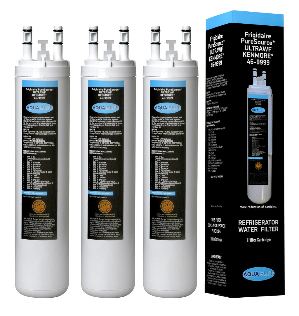 Aqua Blue water filter (3 pack) compatible with Frigidaire ULTRAWF Pure Source Ultra 242017801 Fridge Water Filter