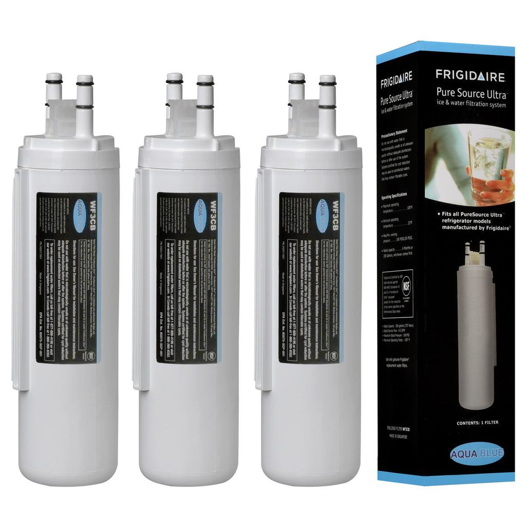 Aqua Blue water filter (3 pack) compatible with Frigidaire 242086201 Refrigerator Water Filter Nsf Certified