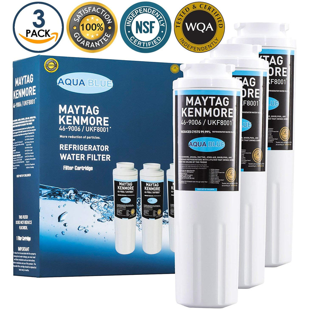 Aqua Blue water filter (3 pack) compatible with Maytag,UF8001,4396395, EDR4RXD1, Pur Filter 4, Kenmore 46-9005, Refrigerator Water Filter Nsf Certified 3-Pack