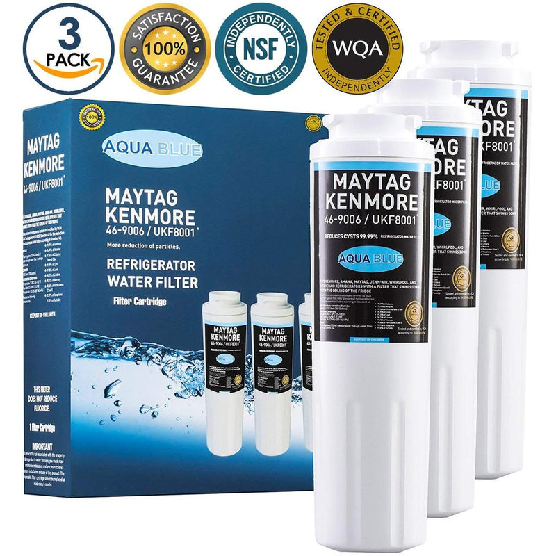 Aqua Blue water filter (3 pack) compatible with Maytag MSD265MHES, MSD265OHEW, MZD2665HEB Water Filter