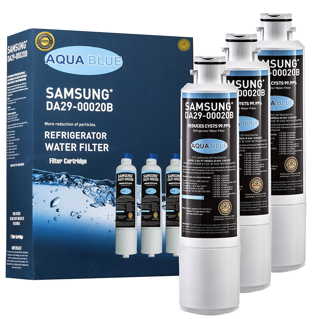 Aqua Blue water filter (3 pack) compatible with Samsung DA29-00020B  Refrigerator Water Filter Compatible Nsf Certified