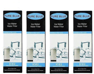 Aqua Blue ICE2 water filter (4 pack) compatible with Whirlpool Ice Maker Water Filter NSF Certified