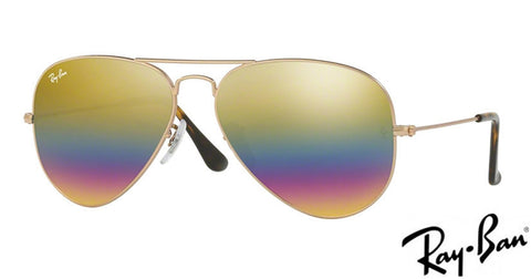 Ray-Ban AVIATOR LARGE METAL - Light grey mirror rainbow 3 lenses 0RB3025  9020C4