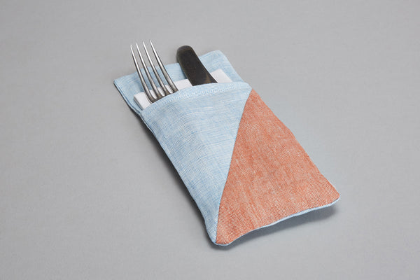 Cutlery Holder (light blue+orange)