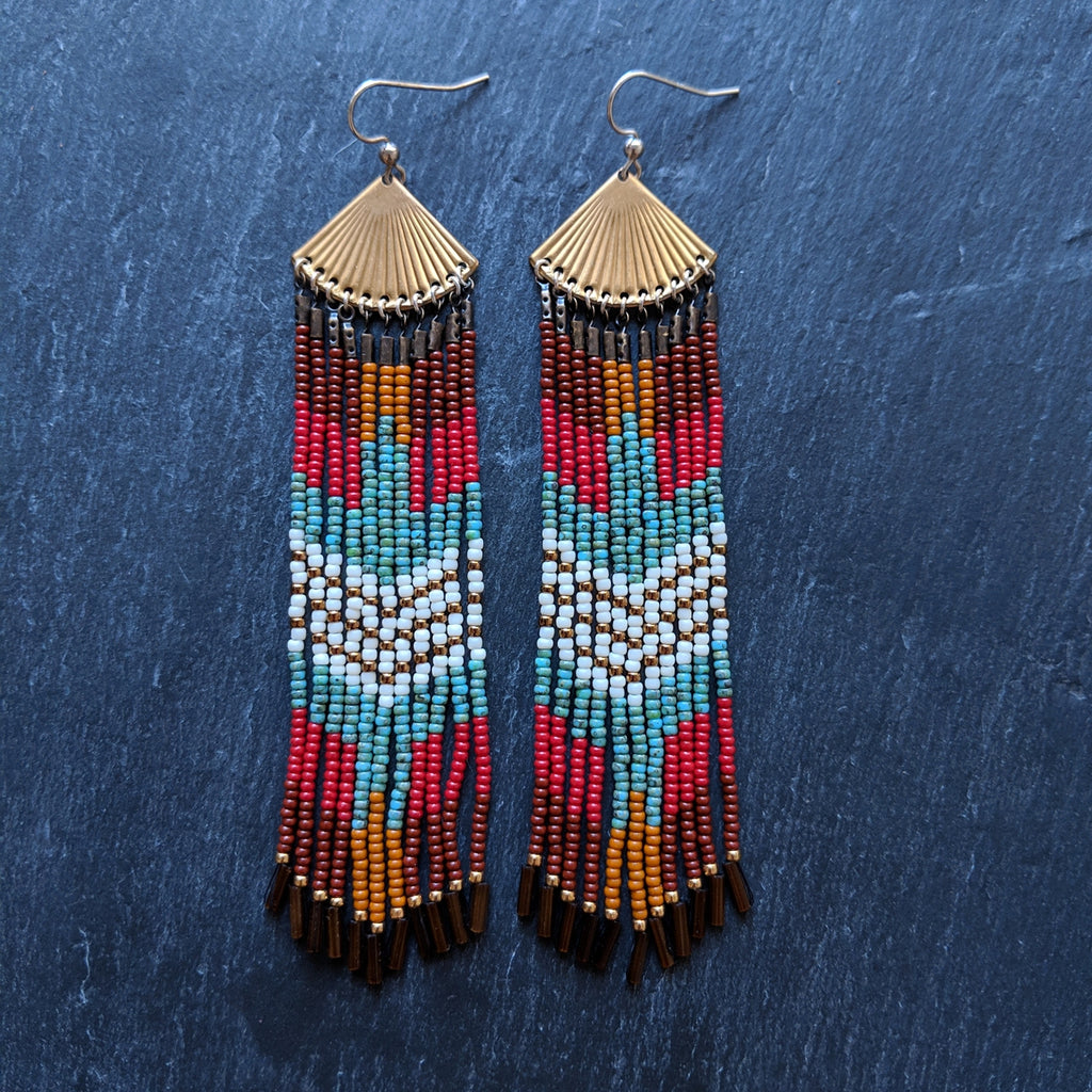 Bohemian native beaded earrings with a colorful bird design made with Czech glass beads, sterling silver, brass, and nylon thread perfect for your boho chic look.