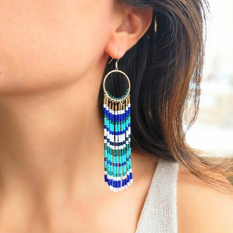 Luxemburg Cobalt Blue Beaded Earrings