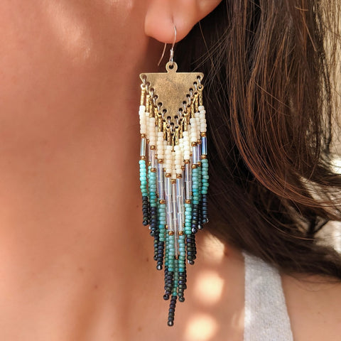 Louise Snow Blue Boho Earrings