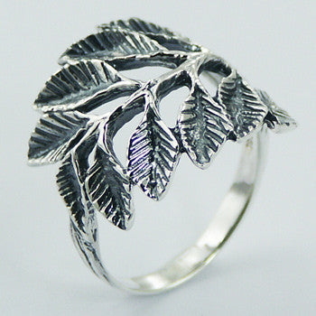 925 sterling silver leaf ring