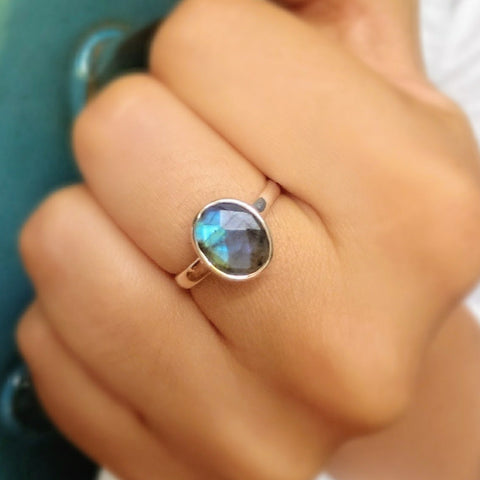 sterling silver boho faceted labradorite ring