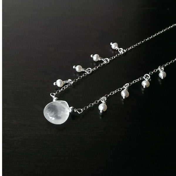 sterling silver rose quartz necklace with pearls