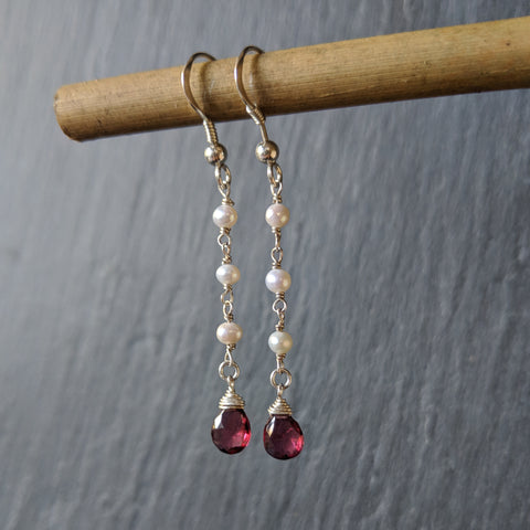 925 sterling silver rosary style earrings with small pearl beads and wire-wrapped rhodolite garnet. Free shipping in the US.