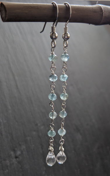 925 Sterling silver rosary style earrings with tiny apatite stones and faceted teardrop quartz