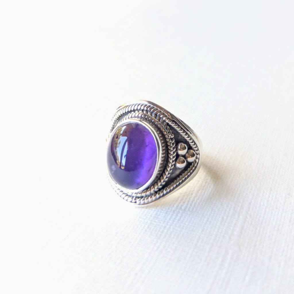 925 sterling silver big chunky amethyst boho ring