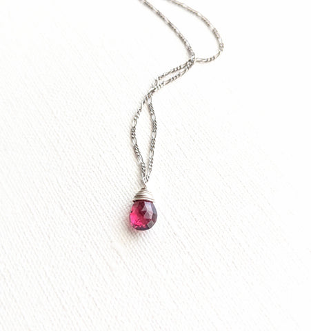 925 sterling silver dainty chain necklace with a wire-wrapped rhodolite garnet pear briolette