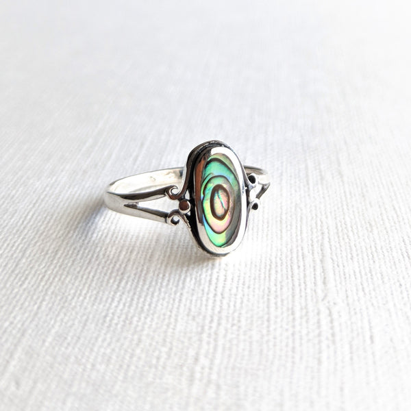 Oval shape abalone shell sterling silver ring in oxidized finish