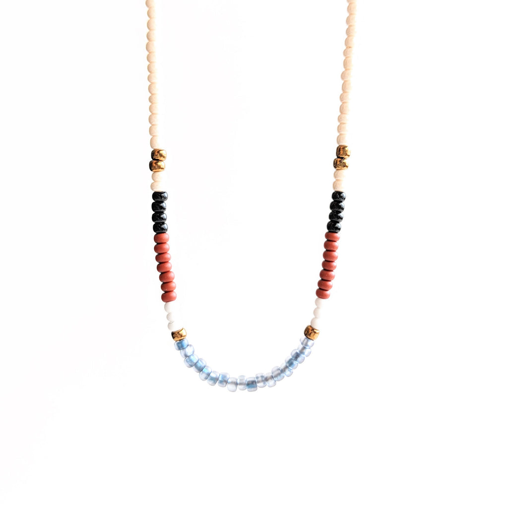 Multi color seed bead necklace with a dainty sterling silver chain